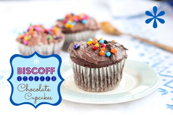 Biscoff-Stuffed Chocolate Cupcakes with Chocolate Biscoff Buttercream