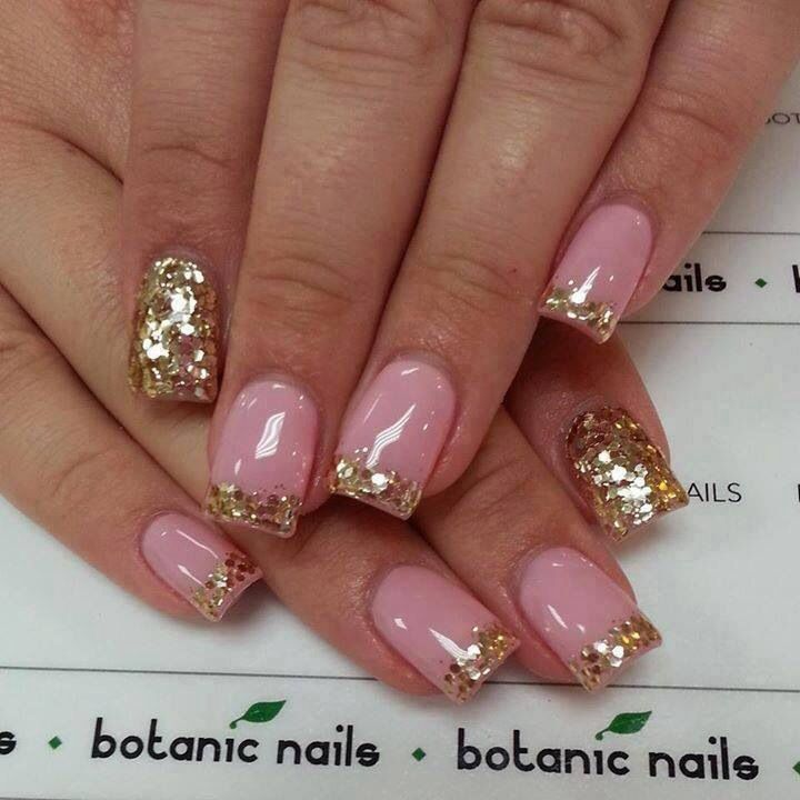 Pink And Gold Acrylic Nails!