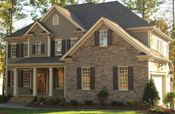 Love The Stone Siding Exterior And Colour Scheme Olive Green Tan And Black Dream Homes