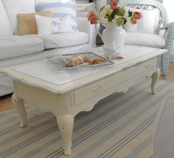 Coffee Table Shabby Chic Painted Furniture Beach Cottage