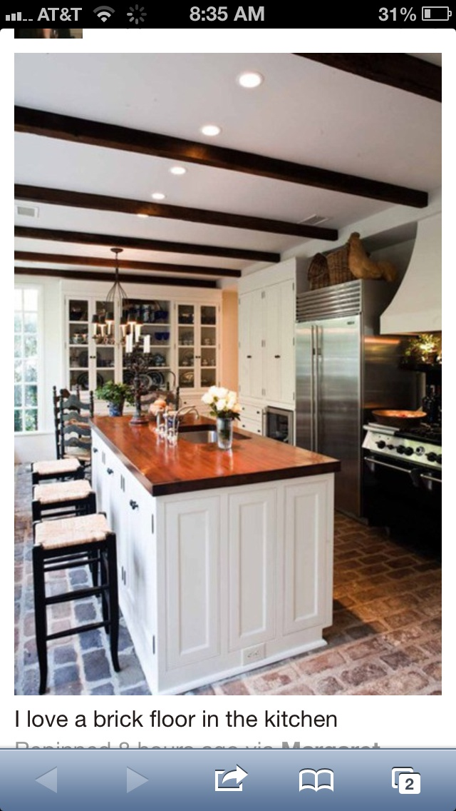 Brick floors in kitchen for the home pinterest for Kitchen units made of bricks
