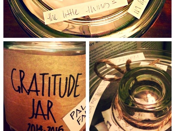 Have you heard of gratitude jars? The idea is simple: Get a jar, try and write down something that you're happy for each day, put it in there, and read through them at the end of the year.