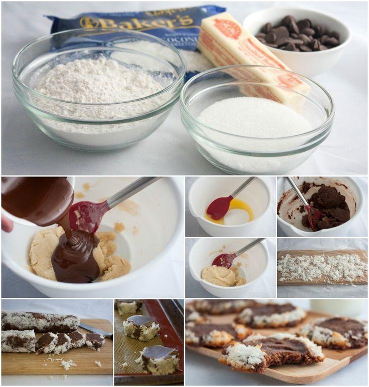 ... Slice and Bake Cookies ~ chocolate shortbread encased in coconut mmm