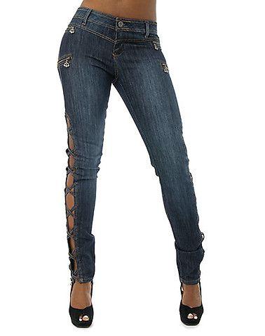 dereon plus size skinny jeans | womens dereon open leg
