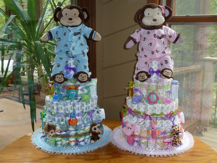 Twin boy diaper cake ideas 90215 twin diaper cakes possibl for Baby shower decoration ideas for twin boys