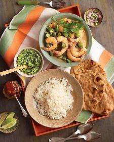 ... shrimp masala, coconut cilantro chutney and yogurt pistachio smoothies