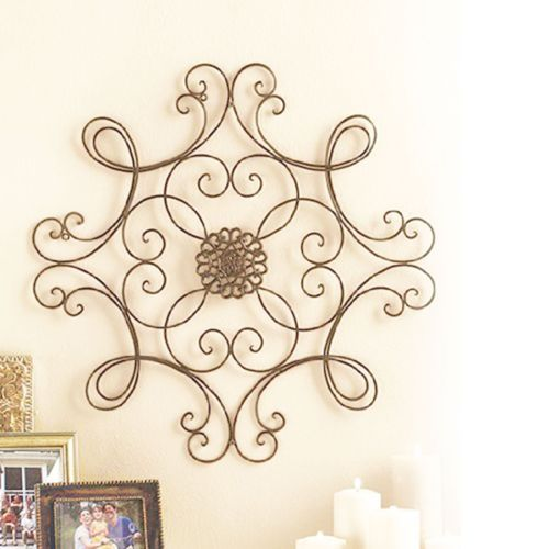 elegant scrolled metal wall medallion fireplace decor wrought iron pi