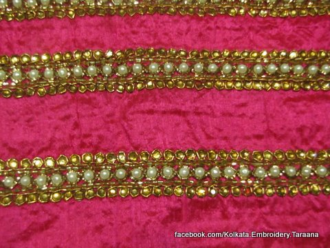 Handembroidery Golden Saree Border With Pearls And