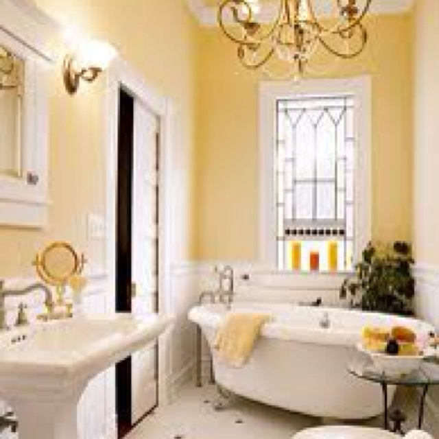 Yellow with blue and white bathroom ideas pinterest for Yellow and white bathroom ideas