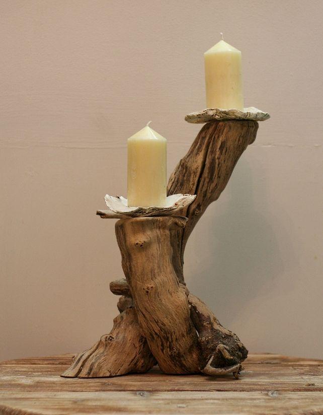 Driftwood candelabra drift wood candle holder drift wood for Candle holders out of wood