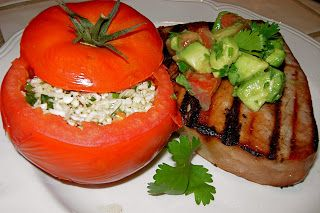 Grilled Tuna Steaks with Spicy Cauliflower Stuffed Tomatoes