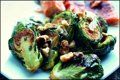 Maple Dijon Brussel Sprouts [inspired: 1 tbsp maple, 1 tbsp olive, 2 ...