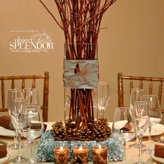 Pine cone and hydrangea centerpiece wedding pinterest