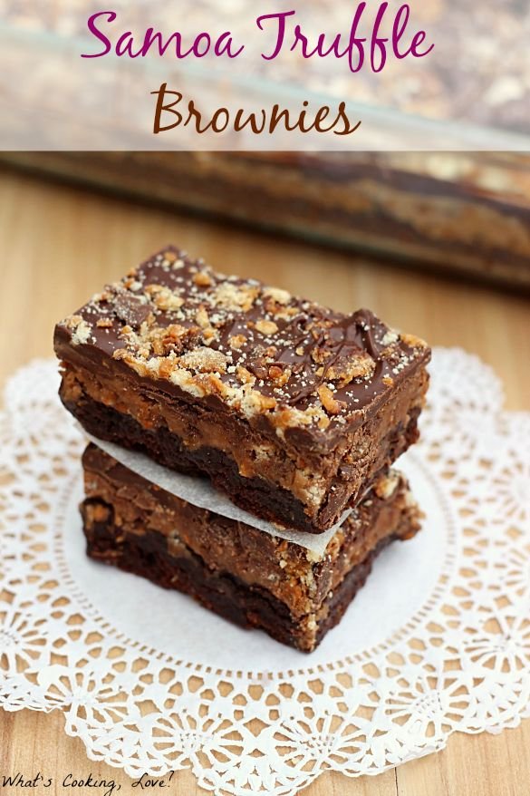 #Samoa Truffle Brownies ~ boxed brownies topped with a delicious truffle mixture of crushed Samoa #GirlScoutCookies and cream cheese, then layered with melted chocolate.These brownies are a must make!