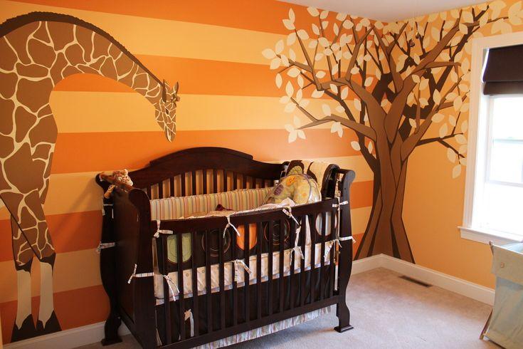 Giraffe baby room mural with tree orange orange baby for Baby room tree mural
