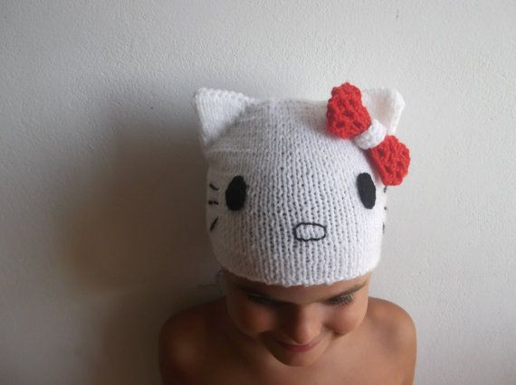 Knitting Pattern For Hello Kitty Hat : Hello Kitty Hat Quickly and Easy Knitting Pattern