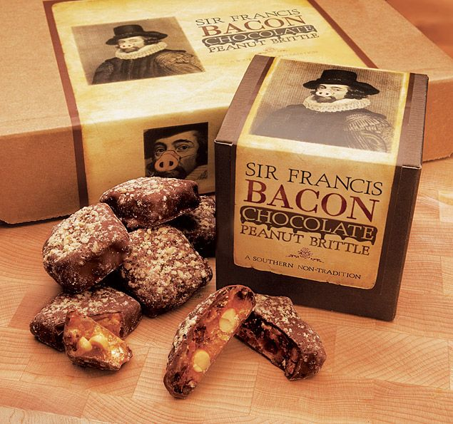 Bacon Chocolate Peanut Brittle - milk chocolate poured over brittle ...