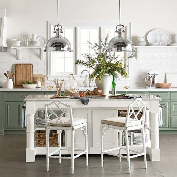 Barrelson kitchen island with marble top for Marble topped kitchen island