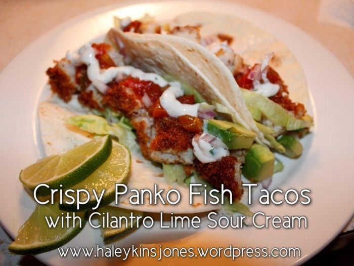 Crispy Panko Fish Tacos. Could do with a chipotle aioli.