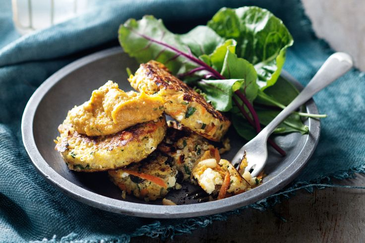 cakes / fritters with feta, pine nuts & mint served with pumpkin ...
