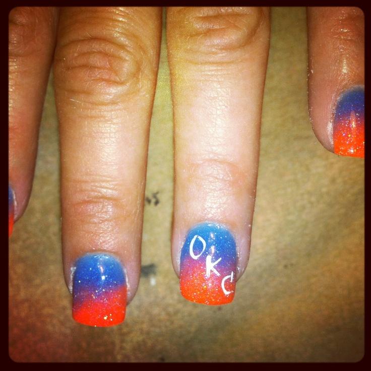 OKC Thunder nails!! | Beauty | Pinterest