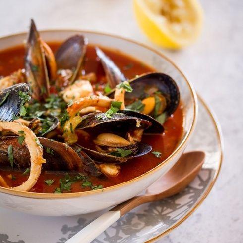 seafood soup with mussels, hake, calamari, smoked paprika and saffron ...