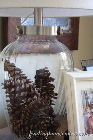 Pine cone in a lamp -- instant fall decor, for free! From Finding Home.