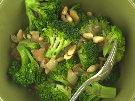 Broccoli with Caramelized Onions & Pine Nuts - Didn't like as much as...