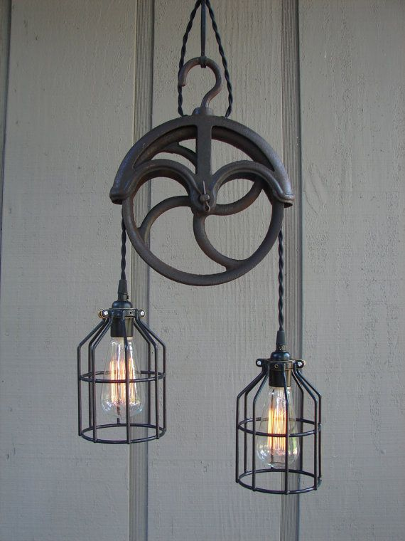 light fixture made from pulley upcycled vintage well pulley pendant. Black Bedroom Furniture Sets. Home Design Ideas