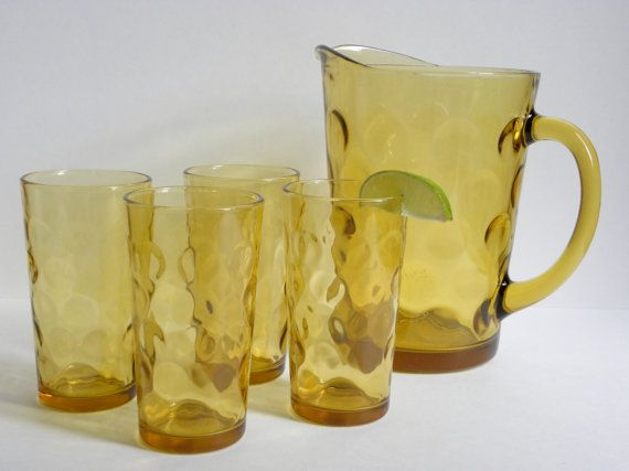 Vintage Amber Thumbprint Pitcher and Drinking Glasses by FlyOn, $38.00