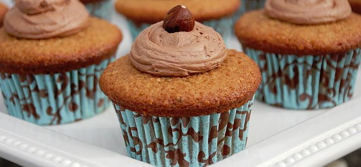 Egg Nog-Hazelnut Cupcakes with Nutella Buttercream Frosting