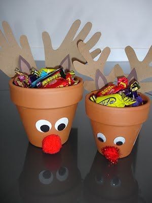 Clay pot reindeer candy dishes