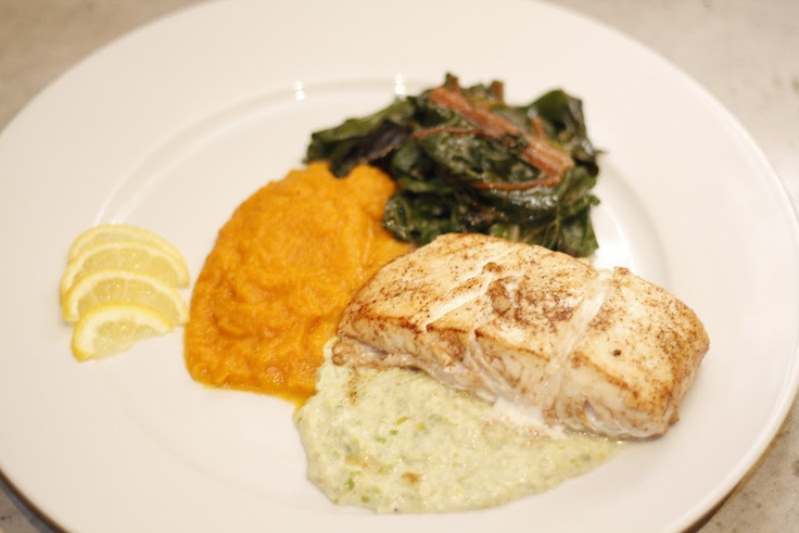 ... Leek Cream Sauce and Sautéed Swiss Chard with Butternut Squash Puree