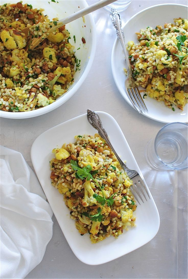 Roasted Curried Cauliflower and Chickpeas with Grains / Bev Cooks