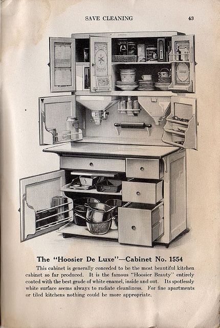 """The """"Hoosier De Luxe"""" -- Cabinet No. 1554 from cluttershop on flickr    From """"You and Your Kitchen, from Experience by Mrs. Christine Frederick,"""" The Hoosier Manufacturing Co., New Castle, IN: 1915. Page 43."""