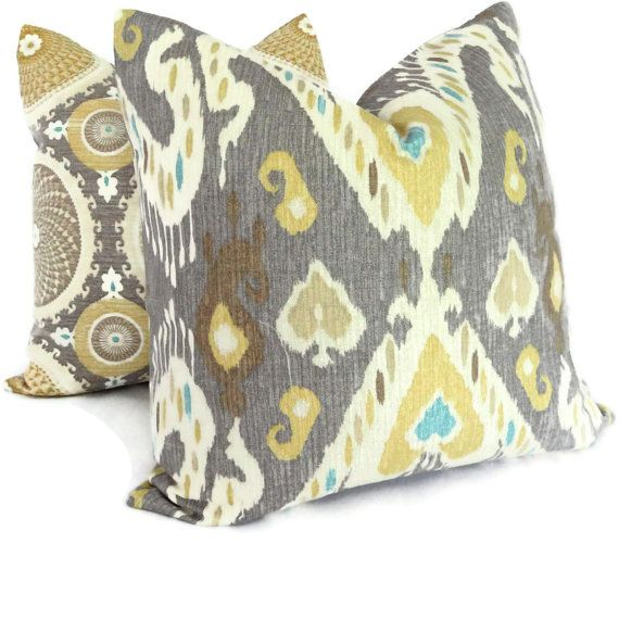 Grey And Yellow Decorative Pillows : Yellow and Gray Ikat Decorative Pillow Cover, Square Pillow, Lumbar P?