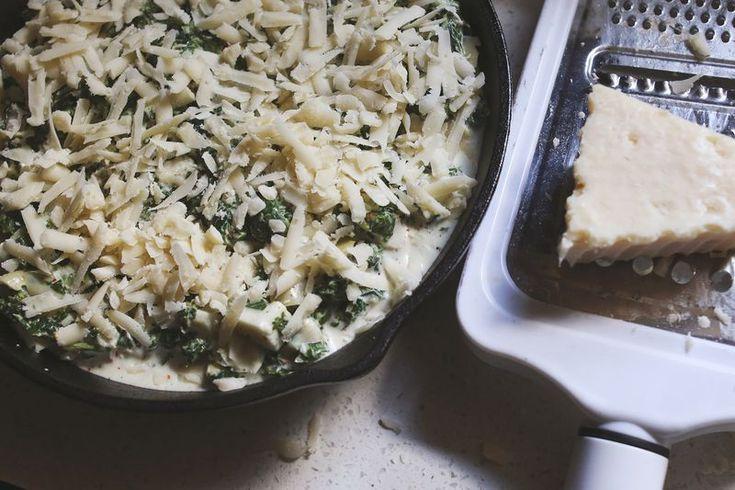 spicy skillet artichoke dip w/ frozen spinach, canned artichoke hearts ...