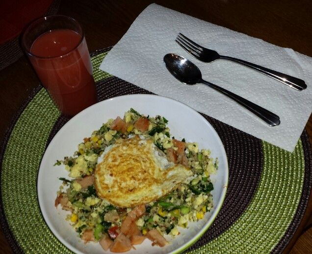"Quinoa ""Fried Rice"" Quinoa, Kale, red peppers, turkey spam , scramb..."