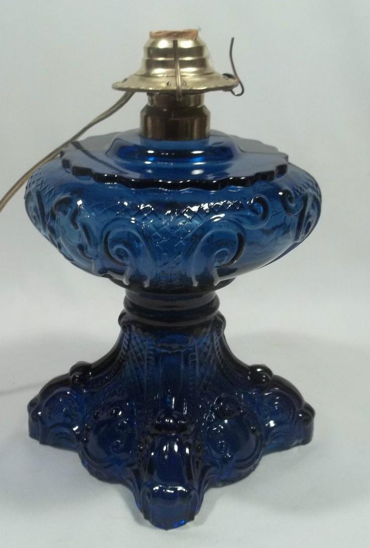 antique vintage cobalt blue glass bass oil lamp converted to. Black Bedroom Furniture Sets. Home Design Ideas