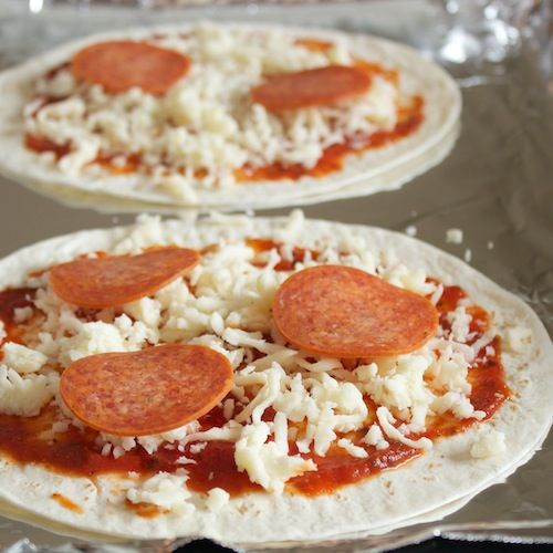 Tortilla pizza lunch.. quick and super easy! 2% cheese and no sugar ...