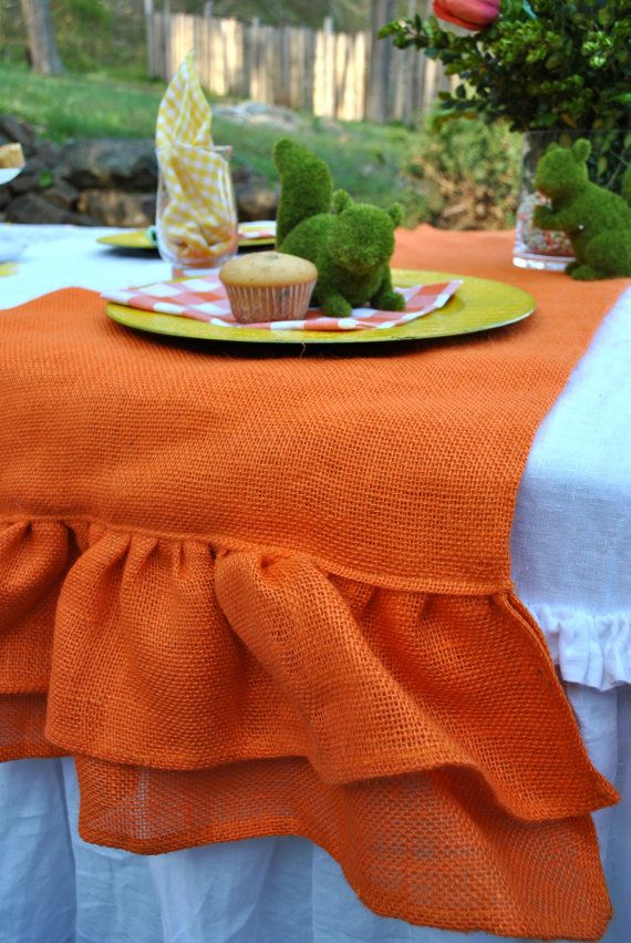 Ruffle Table runner Orange table  Burlap Runner orange