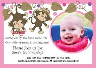 Monkey Princess Birthday Invitations