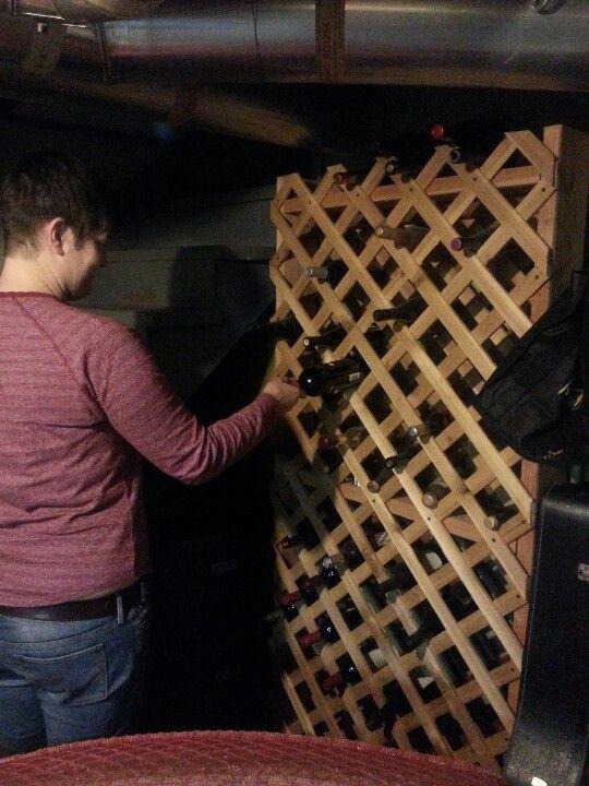 Homemade wine rack for yhe bar pinterest for Easy homemade wine rack