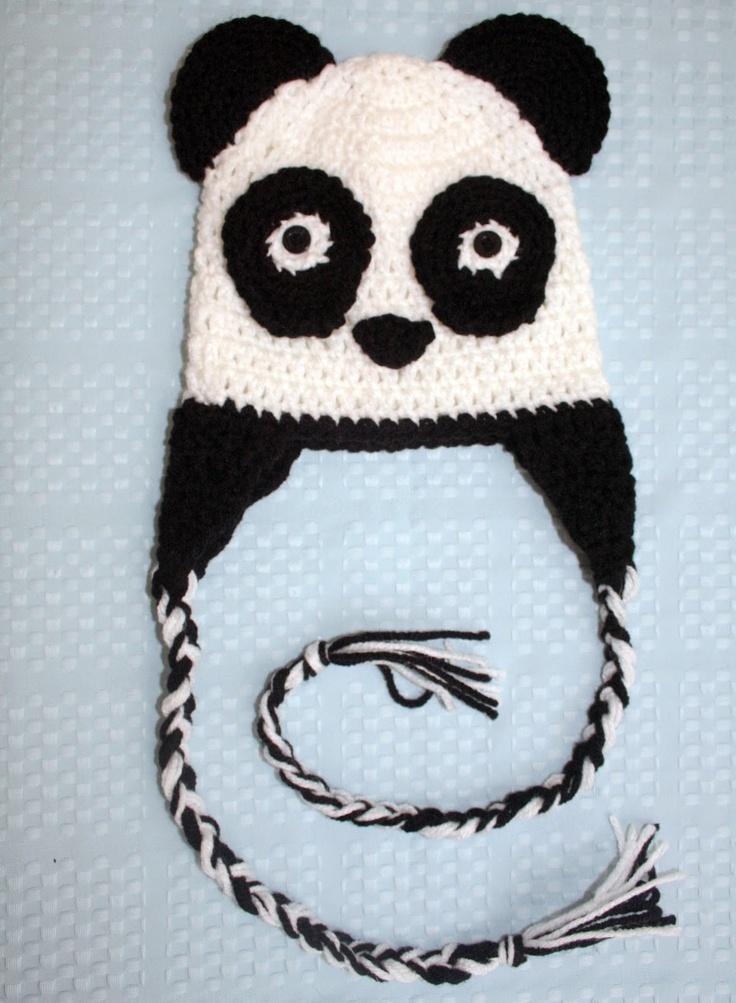 Panda Bear Earflap Hat Crochet Pattern : Pin by Lil Ladys Corner on crochet Pinterest