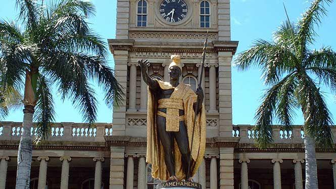 Vintage pictures of the hawaiian monarchy king kamehameha statue
