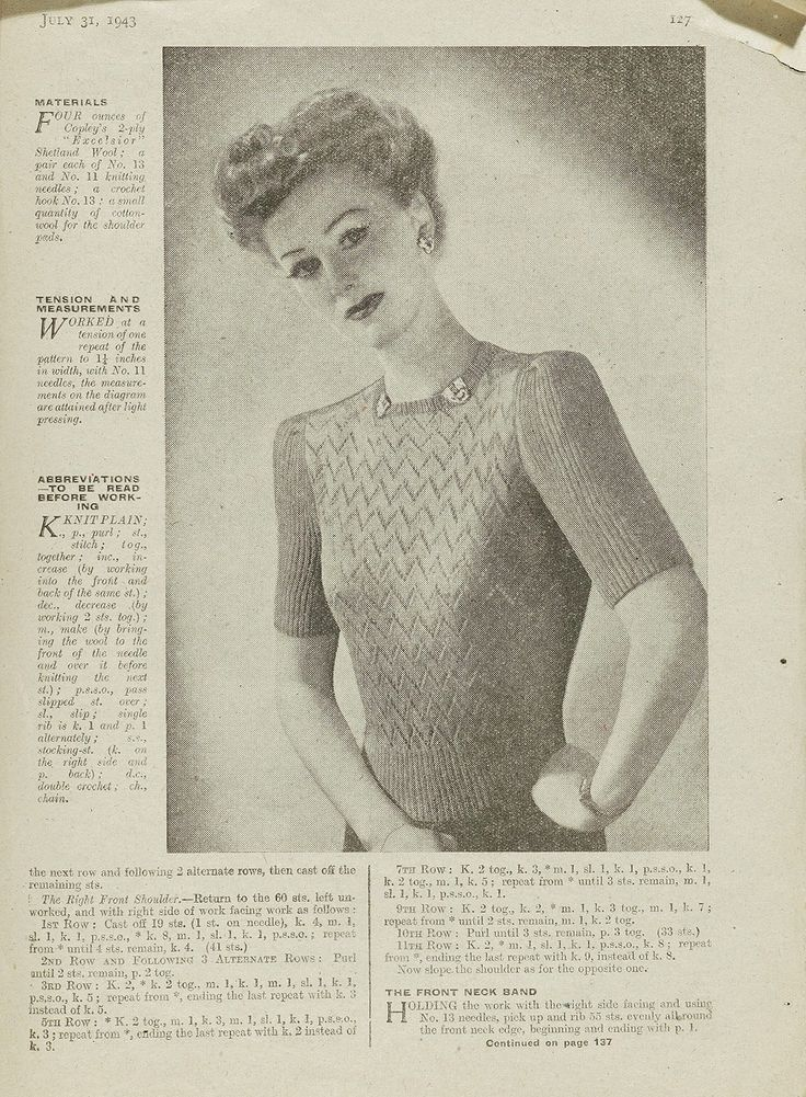 1940 Knitting Patterns Free : 1940s Patterns to Knit V&A Old Fashion knit Pinterest