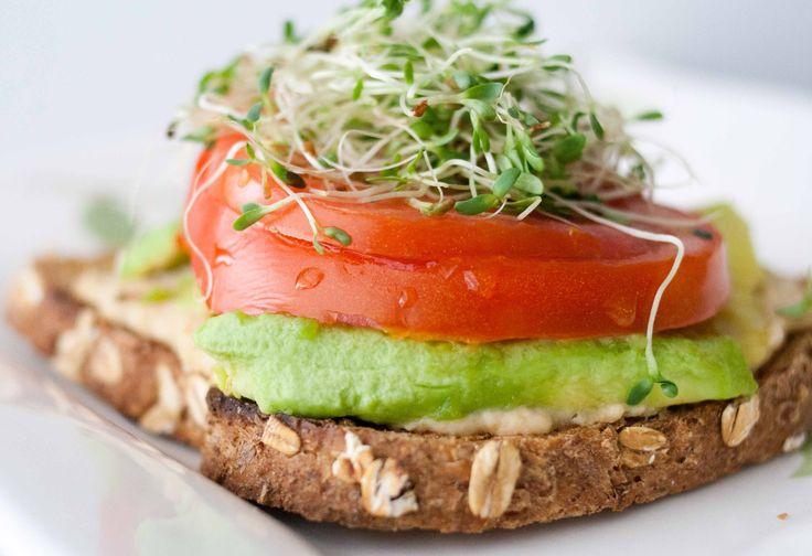 Open-Faced Hummus and Veg. Sandwich | Sandwiches | Pinterest