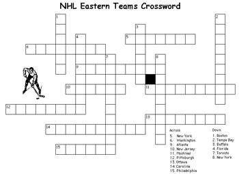 Free Kids Word Puzzles: NHL Eastern Crossword – Printable Activities ...