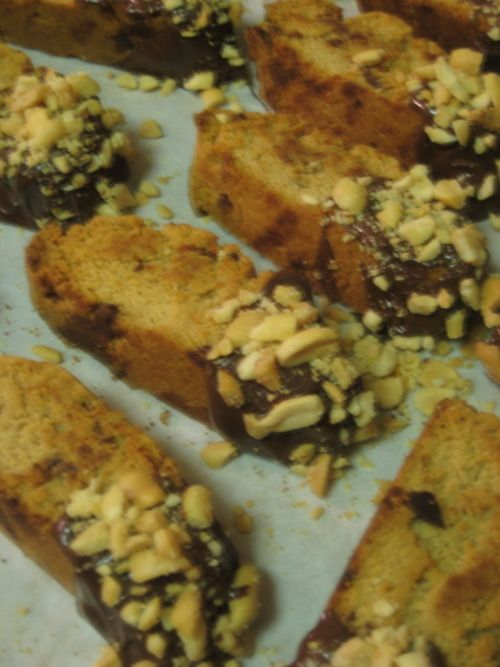 chocolate dipped peanut butter cup biscotti