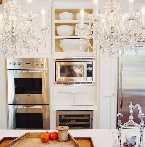 {décor inspiration | places : chandeliers & carrara in the kitchen} by {this is glamorous}, via Flickr